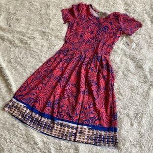 NWT - LulaRoe Pink and Blue Amelia Dress